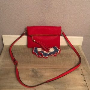 EUC Red Fold Over Street Level Crossover Bag